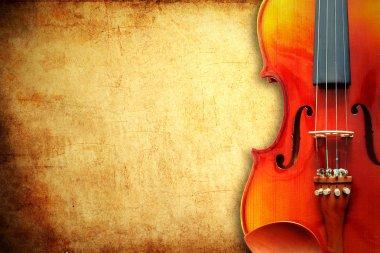 Violin on grunge paper