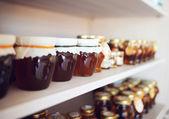 Photo Shelf with home-made honey and jam