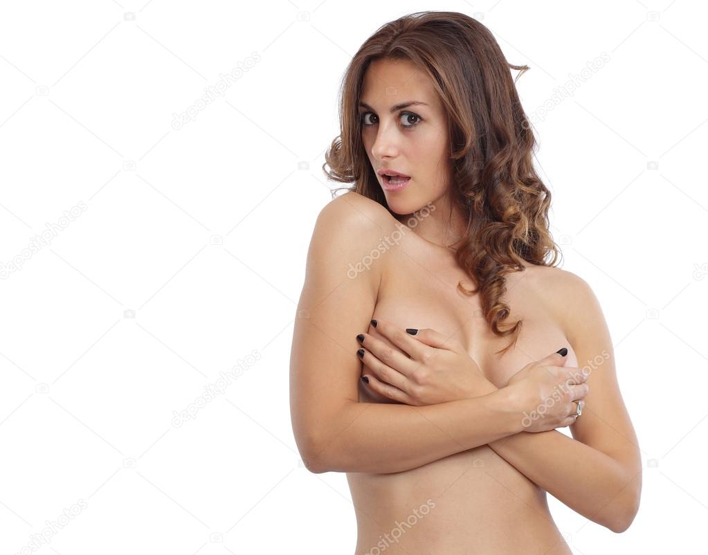 Nude Woman Covering Breasts With Hands
