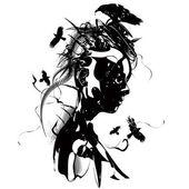 Fényképek Futurisztikus lány fekete-fehér illusztráció