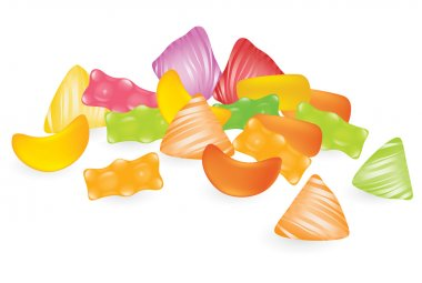 Vector gummy sweets on the white background