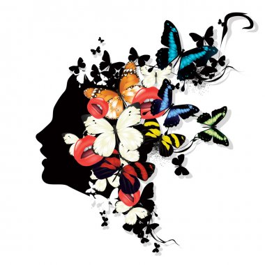 Profile of a girl with butterflies. Colorful vector illustration