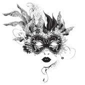 abstrakte Frauenmaske mit Blumen schwarz und weiß
