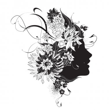Abstract woman profile with flowers black and white