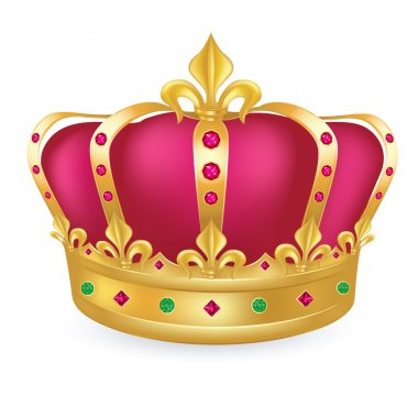 Gold crown with jewels and purple velvet
