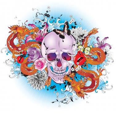 Skull tattoo style graphic.