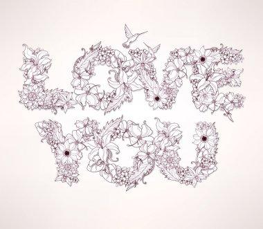 Love You. Vector words of flowers clip art vector