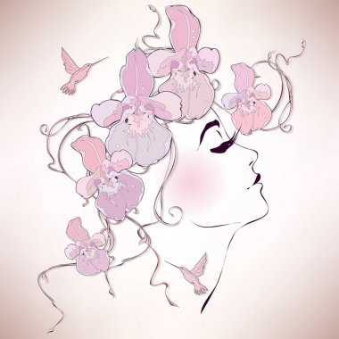 Woman profile with orchids