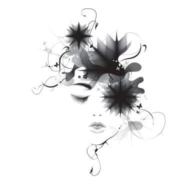 Vector girl abstract profile