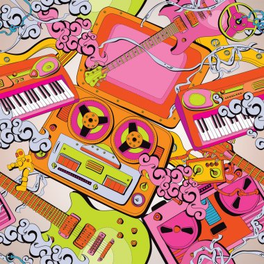 Seamless old school music pattern