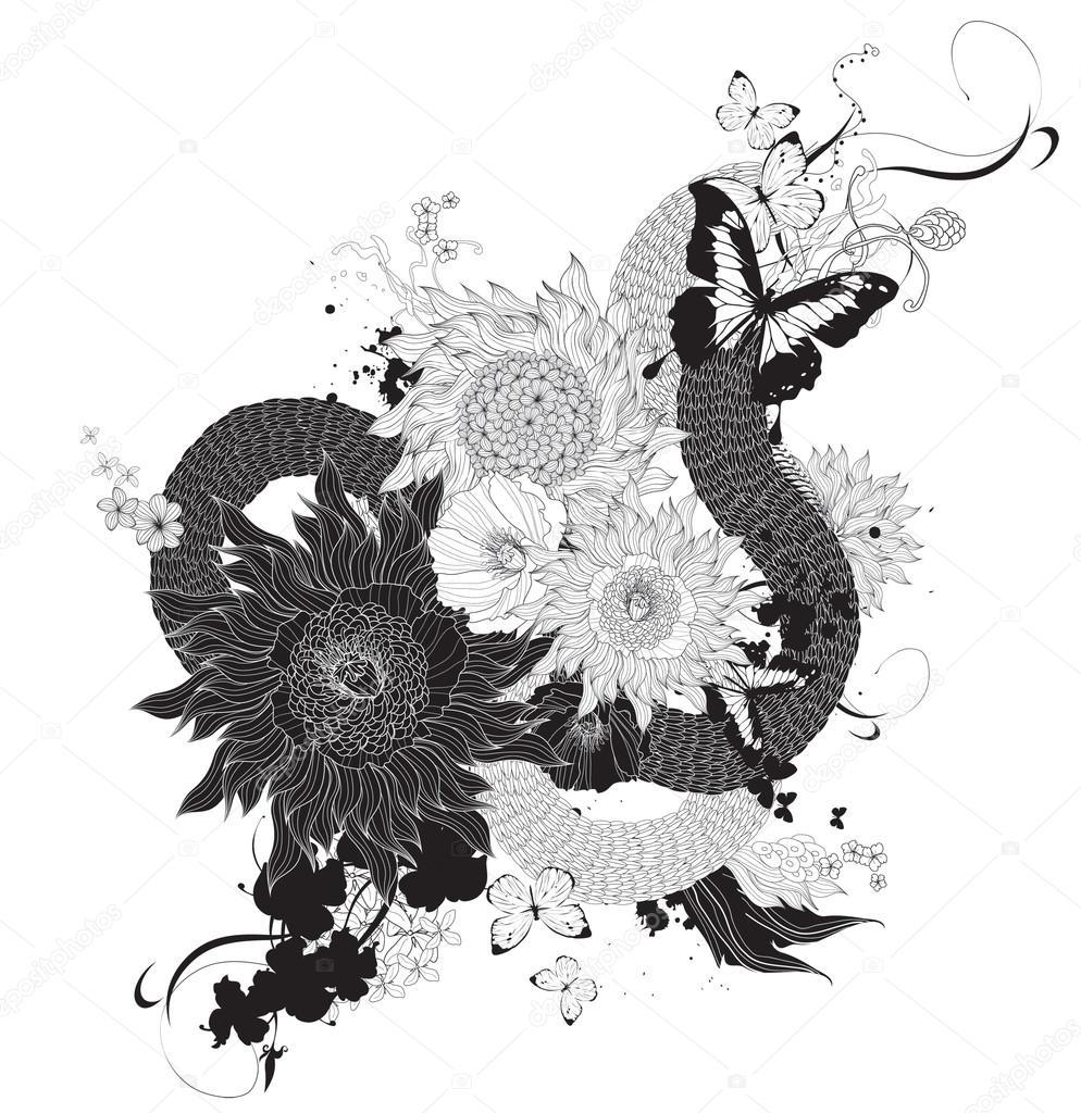 Графика черно белая. Векторная графика Абстрактные Цветы ...