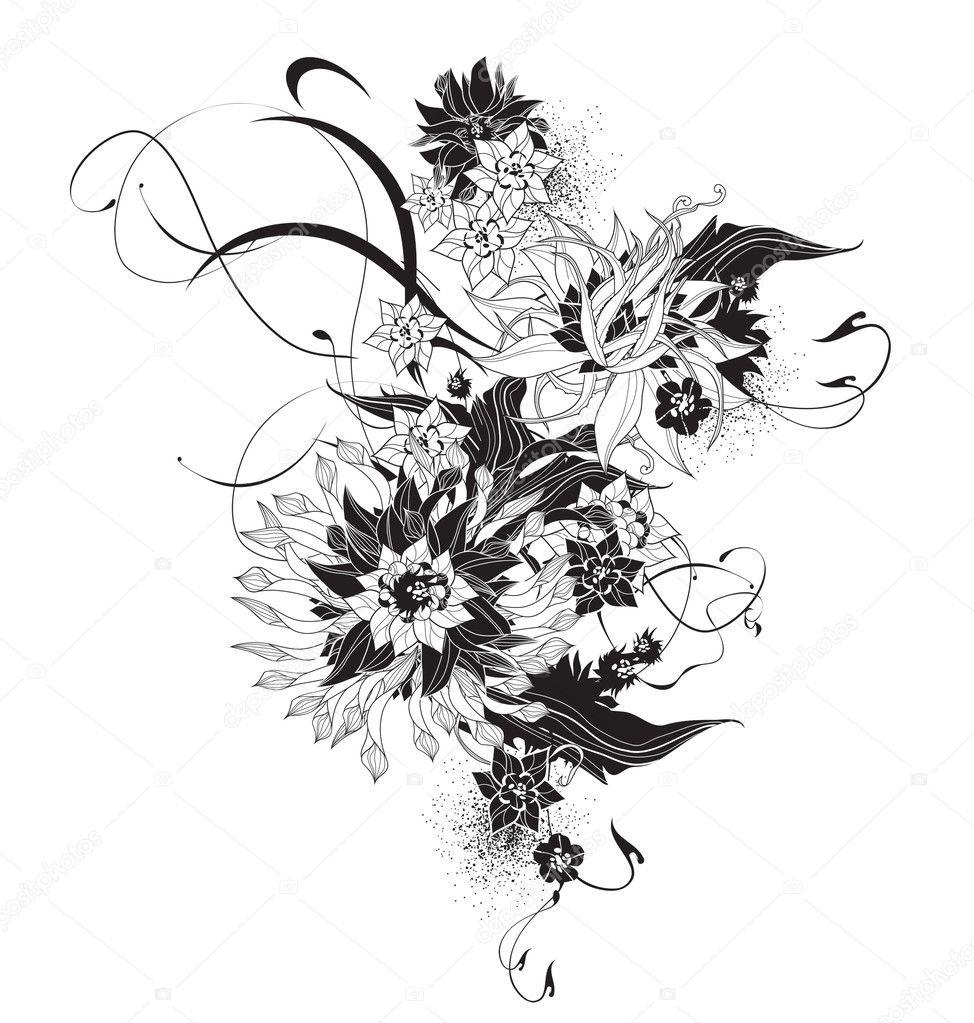 Abstrakte Exotischen Blumen Schwarz Weiss Stockvektor C Yukitama