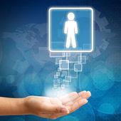 Jobb személy munkavállaló kézzel absztrakt üzleti háttér bl