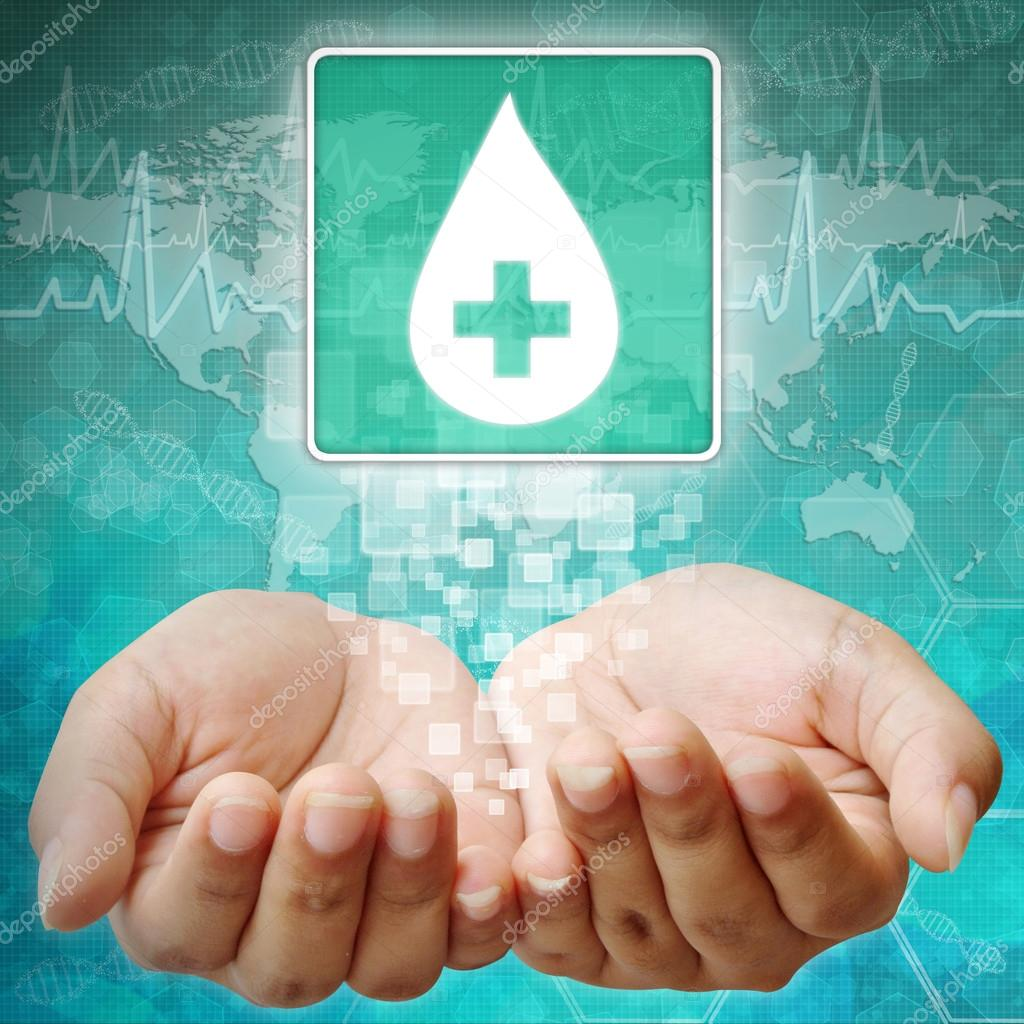 Donate blood,Blood Drop sign on hand ,medical background