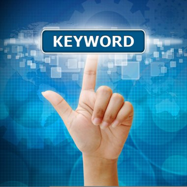 Hand woman press on touch screen keyword seo button