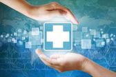 Medizinische Symbol, erste Hilfe in der hand