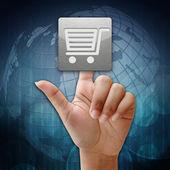 V tisku nakupování na pozadí globální ikonu