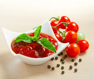 Red tomato sauce in a pan and ingredients stock vector