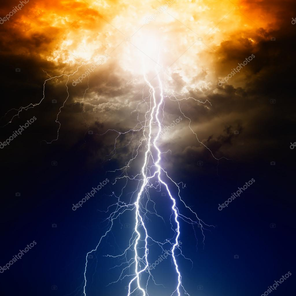 Lightnings in dark sky