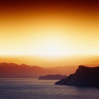 Sunset, mountains, sea