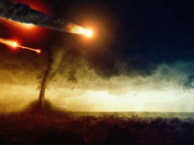 Asteroid impact and huge tornado
