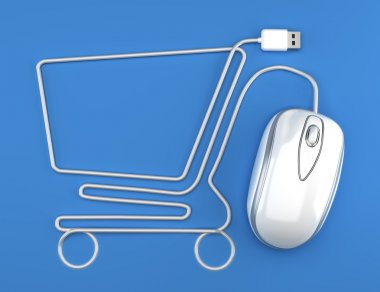 White mouse in the shape of a shopping cart on a blue background. stock vector