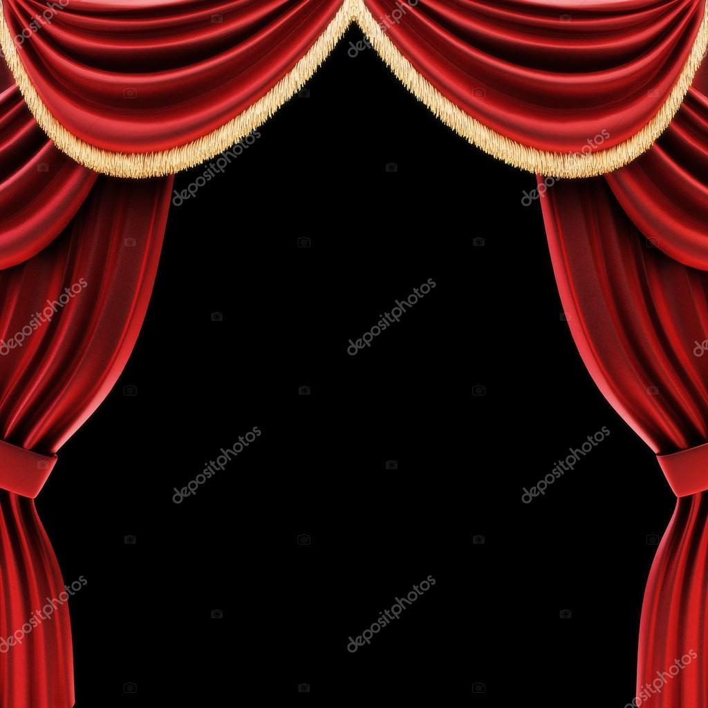 Red stage curtains open - Open Theater Drapes Or Stage Curtains Stock Photo 26274103