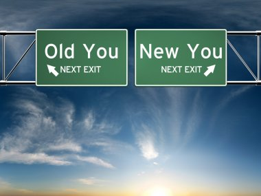 New you, old you. Sign's depicting a choice in your life stock vector