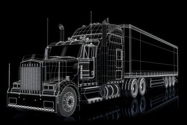 Semi truck with cargo in wire frame