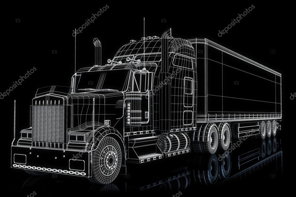 Semi-Truck mit Cargo im Drahtrahmen — Stockfoto © digitalstorm #26379221