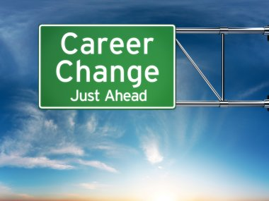 Career change just ahead concept depicting a new choice in job Career