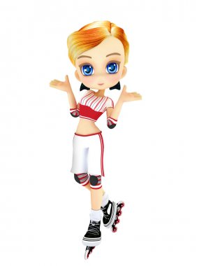 Cute female toon with skates posing on a white background