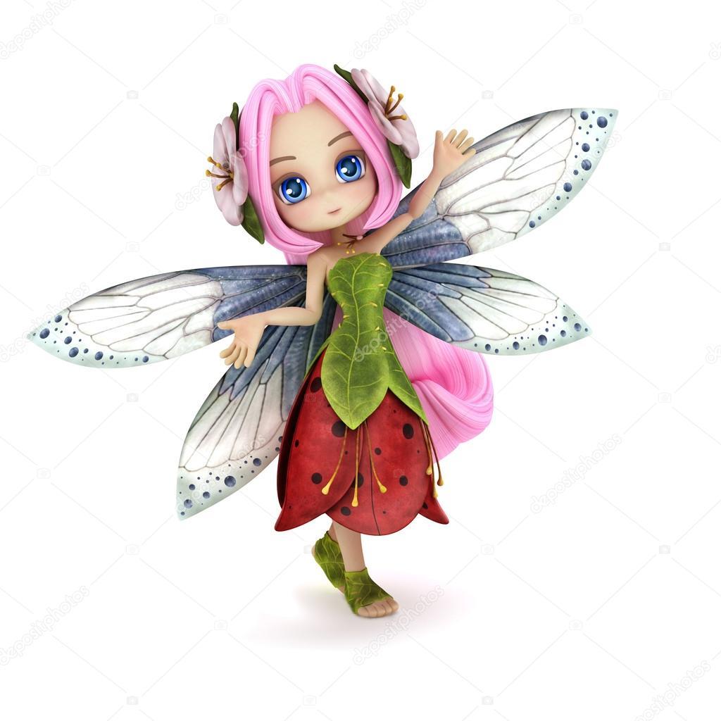 Cute toon ballerina fairy on a white background