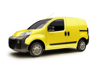 Yellow Industrial van on a white background