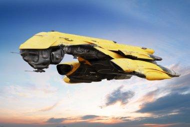 Science fiction scene of a futuristic ship