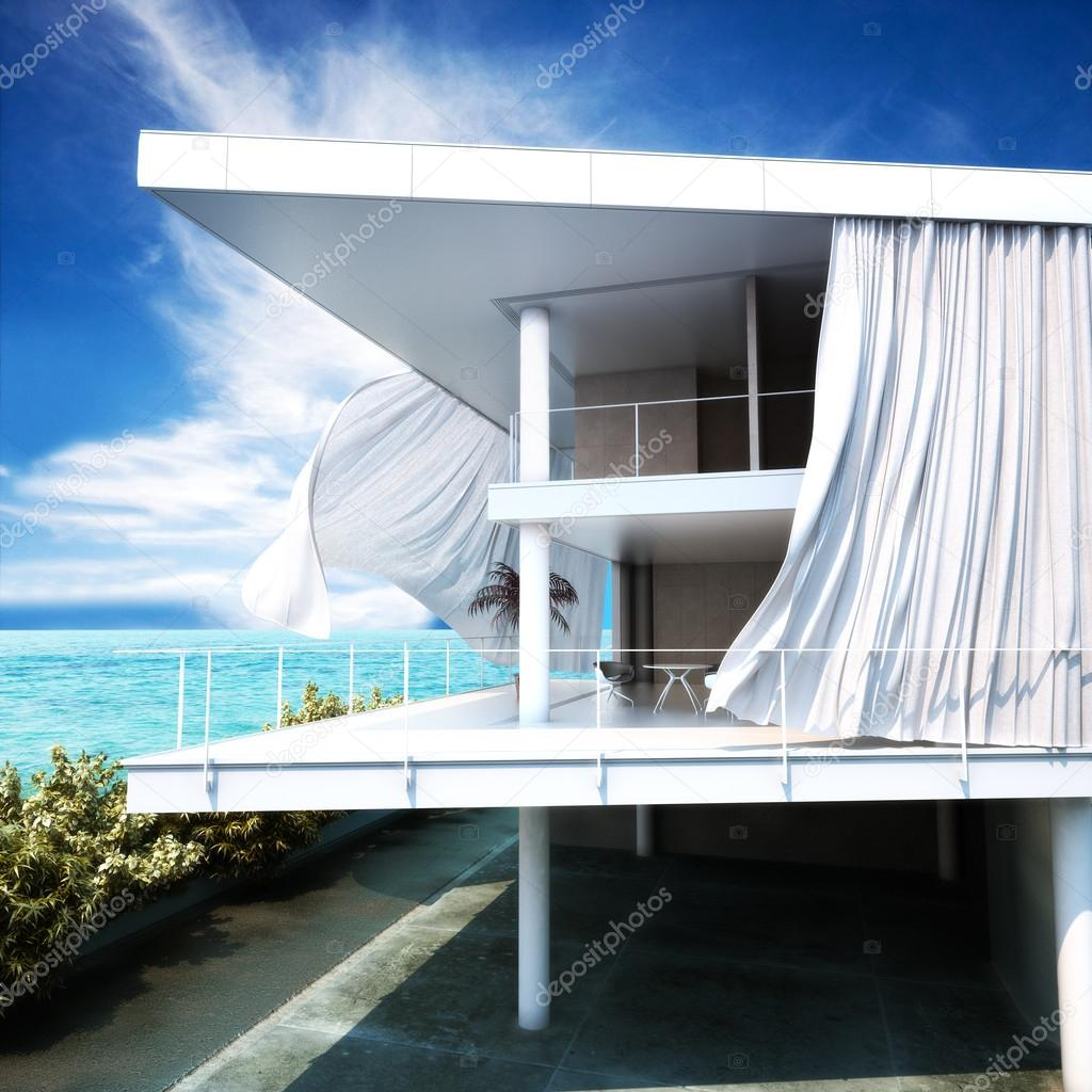Modern open air architecture with an ocean view.
