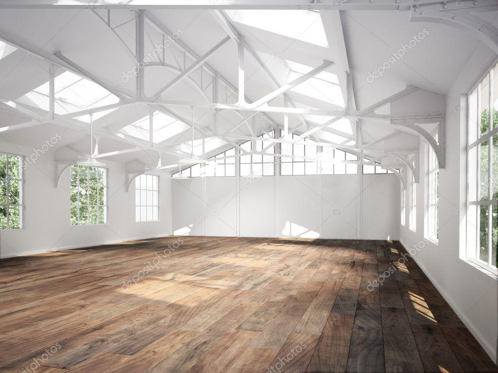 Commercial interior avec planchers de bois et puits de ...