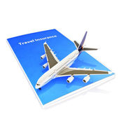 Travel Insurance concept with Jet aircraft on a white background.