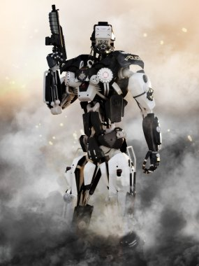 Robot Futuristic Police armored mech weapon