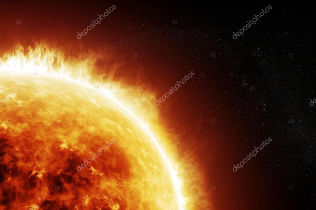 Burning sun on a space black background
