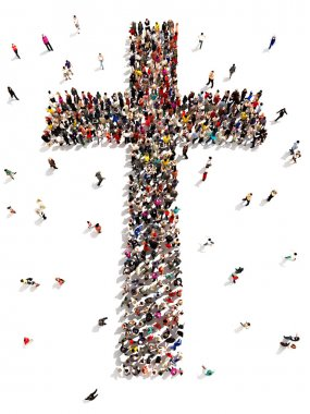 Large group of people walking to and forming the shape of a cross on a white background. stock vector