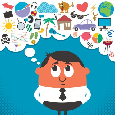Man, thinking about many things. No transparency and gradients used. clip art vector