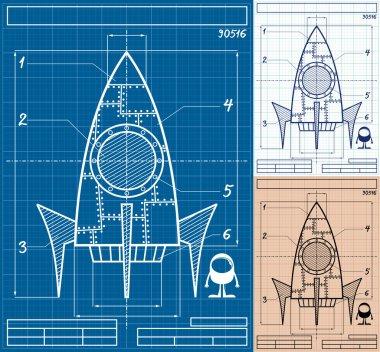 Rocket Blueprint Cartoon