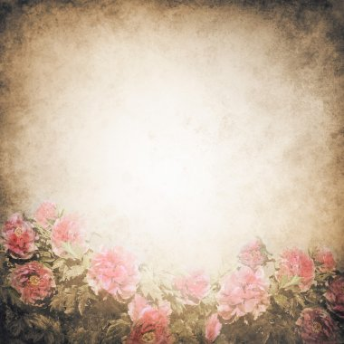 Grunge background template with beautiful pink peony flowers