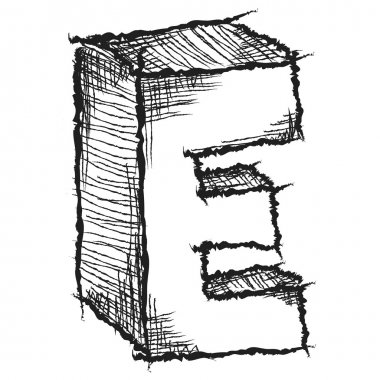 Sketchy hand drawn letter E isolated on white