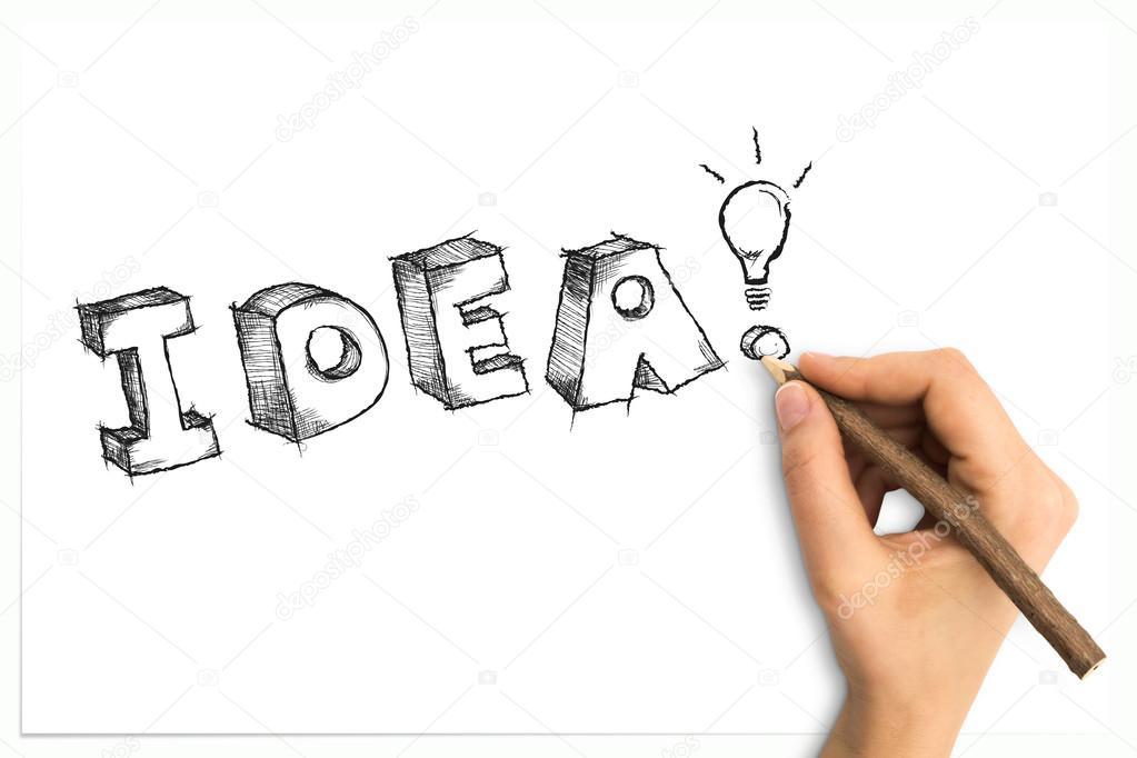 dibujo palabra vaga idea con foco en la hoja de papel blanco de la ...