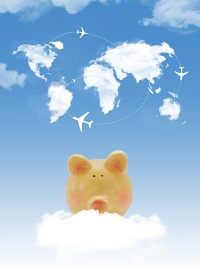 Piggy bank on cloud with world map shape clouds and airplanes
