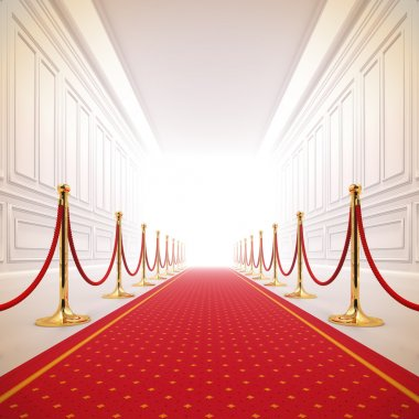 A 3d illustration of red carpet path to the success light. stock vector