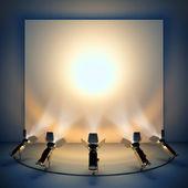 Fotografia sfondo vuoto con riflettori del palco