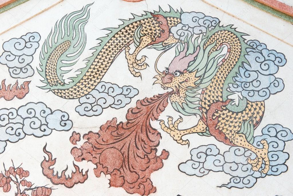 Photo de dragon chinois de dessin sur le mur du temple - Photo de dragon chinois ...